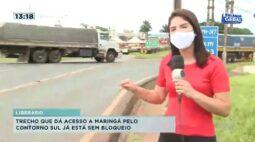 Trecho que dá acesso a Maringá pelo contorno Sul já está bloqueado