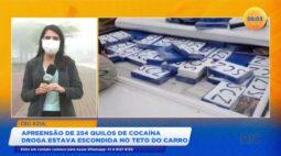 Polícia apreende 254 quilos de cocaína escondida no teto do carro em Céu Azul