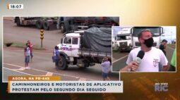 Caminhoneiros e motoristas de aplicativo protestam contra alta dos combustíveis pelo segundo dia