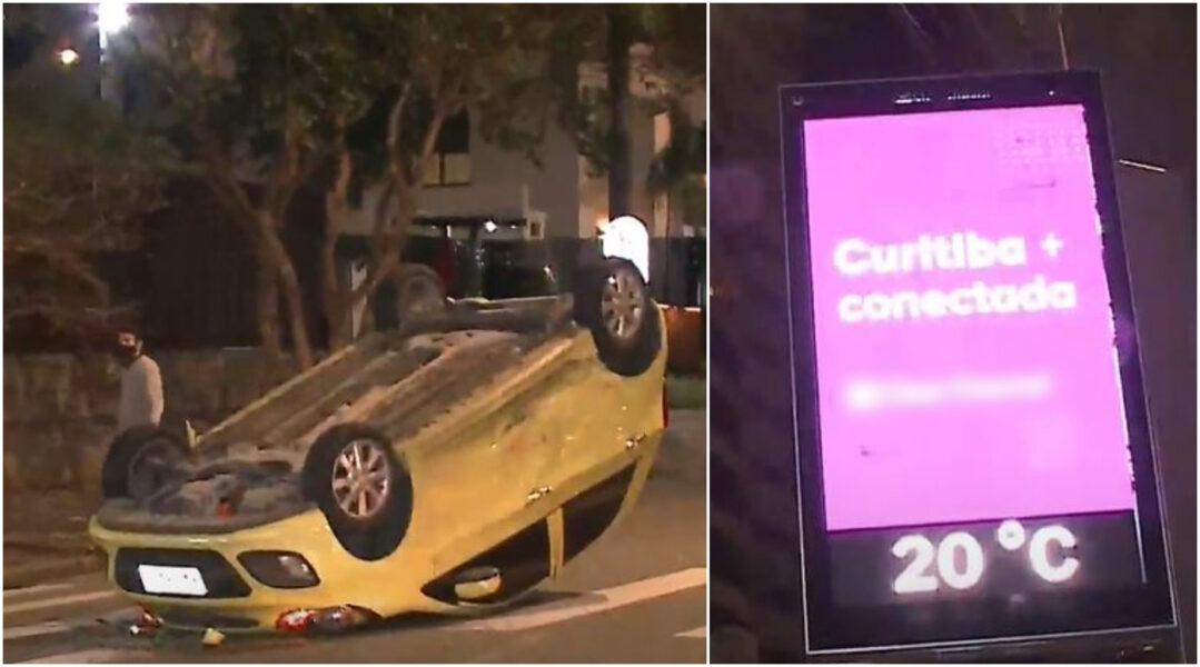 """Motorista culpa placa luminosa por acidente em Curitiba: """"Como se estivesse abrindo o sinal"""""""