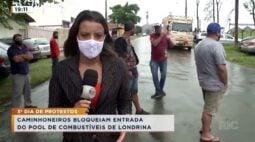 3º dia de protestos: caminhoneiros bloqueiam entrada do pool de combustíveis de Londrina