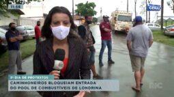 Caminhoneiros bloqueiam entrada do pool de combustíveis em Londrina