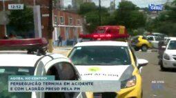 Perseguição termina em acidente e com ladrão preso pela Polícia Militar