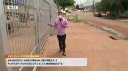 Bandidos arrombam empresa e furtam notebooks e caminhonete