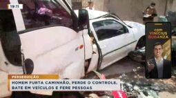 PERSEGUIÇÃO | Homem furta caminhão, perde o controle, bate em veículos e fere pessoas.