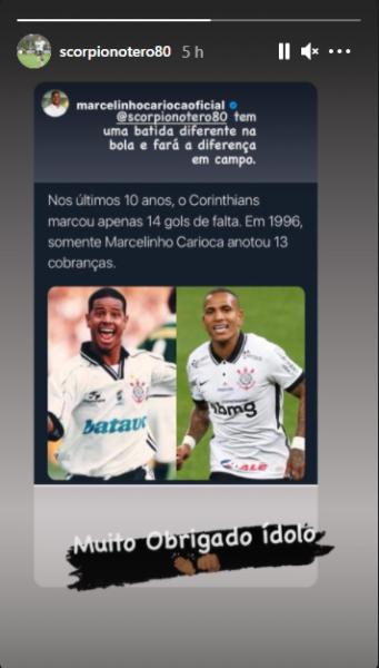 """Marcelinho Carioca exalta qualidade de Otero nas bolas paradas: """"Fará a diferença"""""""