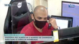 Pandemia fez aumentar o número de chamadas para SAMU e Corpo de Bombeiros