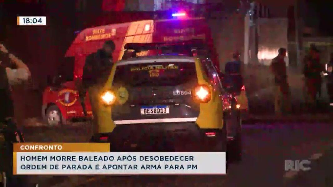 Homem morre baleado após desobedecer ordem de parada e apontar arma para PM
