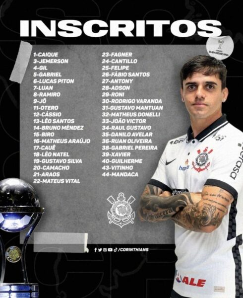 Corinthians define inscritos e numeração para Copa Sul-Americana; veja lista