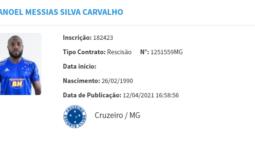 Manoel rescinde com o Cruzeiro e fica livre no mercado