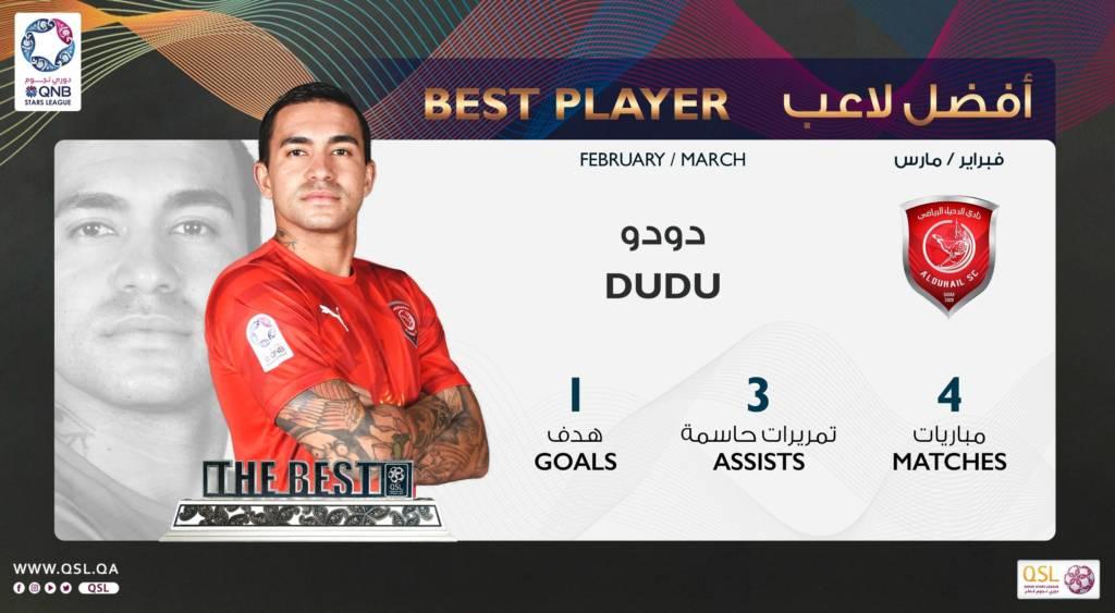 Dudu, ex-Palmeiras, é eleito o melhor jogador da Liga do Catar em fevereiro e março