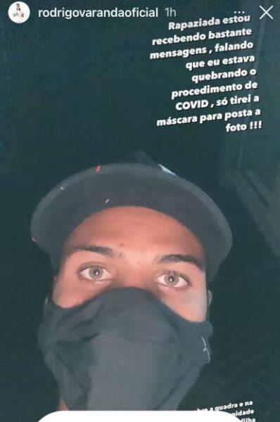 Rodrigo Varanda posta foto sem máscara em quadra e se justifica