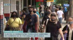 Clientes e comerciantes comemoram abertura do comércio em Maringá