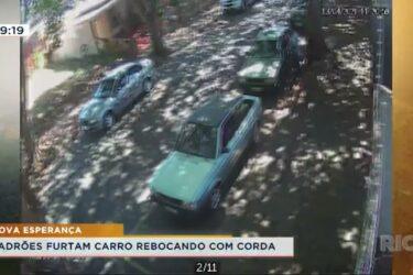 Ladrões furtam carro rebocando com corda