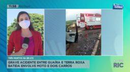 Grave acidente que envolveu moto e dois carros entre Guaíra e Terra Roxa