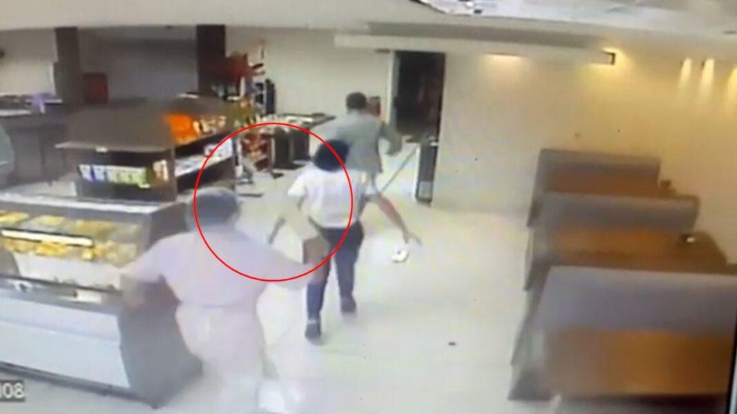 VÍDEO: Suspeito tenta assaltar panificadora e leva surra com rolo de macarrão