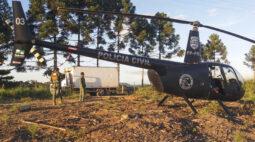 Só com helicópteros polícia consegue localizar caminhão de latícinios roubado.Veja!