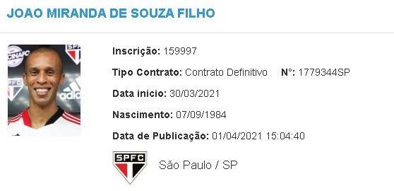 Miranda é regularizado no BID e já pode estrear pelo São Paulo