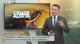 Manobra irregular causa acidente entre duas motos em cruzamento
