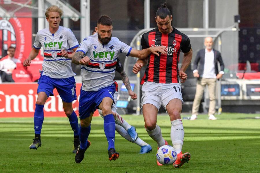 Com um jogador a mais, Milan arranca empate em casa com a Sampdoria