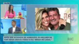 """Após ser acusada de agressão, ex-mulher de Tom Veiga grava vídeo e diz """"briga de casal"""""""