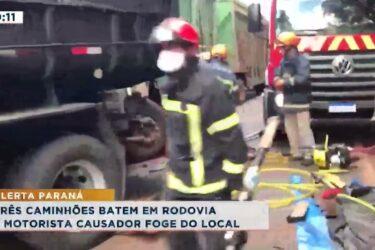 Três caminhões batem em rodovia e motorista causador foge do local