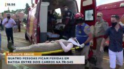 Quatro pessoas ficam feridas em batida entre dois carros na PR-545