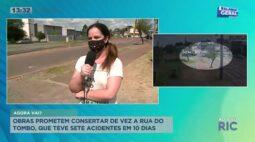 Obras prometem consertar de vez a rua do tombo, local teve sete acidentes em 10 dias