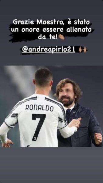 """Cristiano Ronaldo se despede de Pirlo, fora da Juve: """"Obrigado, mestre"""""""