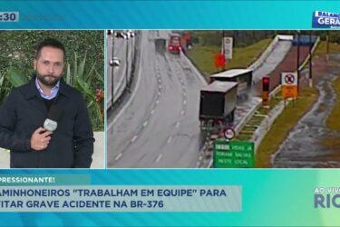 """Caminhoneiros """"trabalham em equipe"""" para evitar grave acidente na BR-376"""