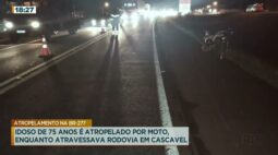 Idoso de 75 anos é atropelado por  moto enquanto atravessava rodovia em Cascavel