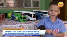 Criança que sonha em ser motorista de ônibus nem brinca em dia de greve