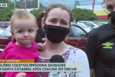 Velório coletivo emociona Saudades em Santa Catarina após chacina em creche