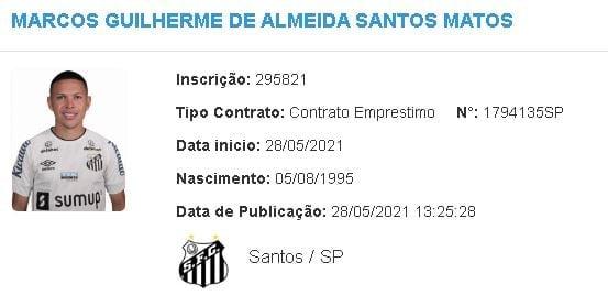 Marcos Guilherme é regularizado no BID e já pode estrear pelo Santos
