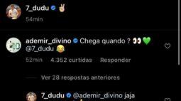 """Indagado por Ademir da Guia, atacante Dudu responde: """"Já, já estamos aí"""""""