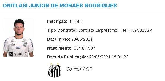 Moraes é registrado no BID e fica à disposição para estreia do Santos no Brasileirão