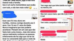 Em grupo de WhatsApp de academia, homem afirma que agride mulheres e causa revolta