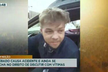 Bêbado causa acidente e ainda se acha no direito de discutir com vítimas