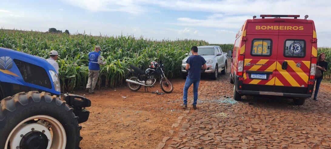 Acidente em estrada rural de Cascavel deixa motociclista ferido