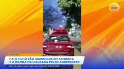 Pai e filho são agredidos depois de acidente e a batida foi causada pelos agressores