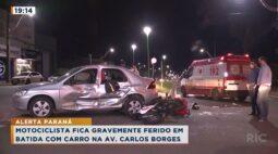Motociclista fica gravemente ferido em batida com carro na Av. Carlos Borges
