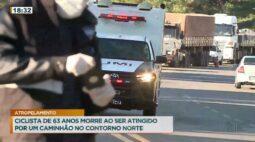 Ciclista de 63 anos morre ao ser atingido por um caminhão no contorno norte