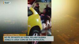 Mulher quebra janela e joga copo de xixi em policial no PR