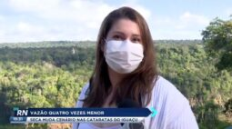 Vazão quatro vezes menor: seca muda cenário nas cataratas do Iguaçu