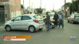Acidente entre motocicleta e carro no bairro novo mundo.