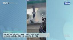 Bomba de combustível pega fogo após ser arrancada por motorista em Foz