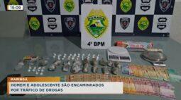 Homem e adolescente são encaminhados por tráfico de drogas
