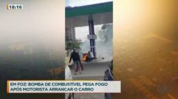 Bomba de combustível pega fogo após motorista arrancar o carro
