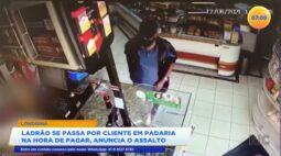 Ladrão se passa por cliente em padaria e na hora de pagar anuncia assalto