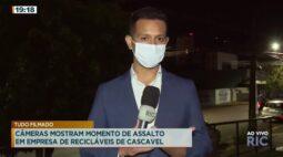Câmeras mostram momento de assalto em empresa de recicláveis de Cascavel